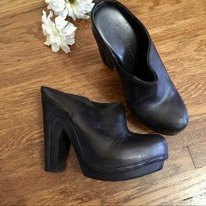 Allsaints Anat black leather clogs heels 36 5/6